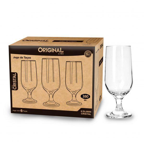Jogo de 6 Taças de Vidro Com 380 Ml Linha Crystal Original Line Sl0889-6