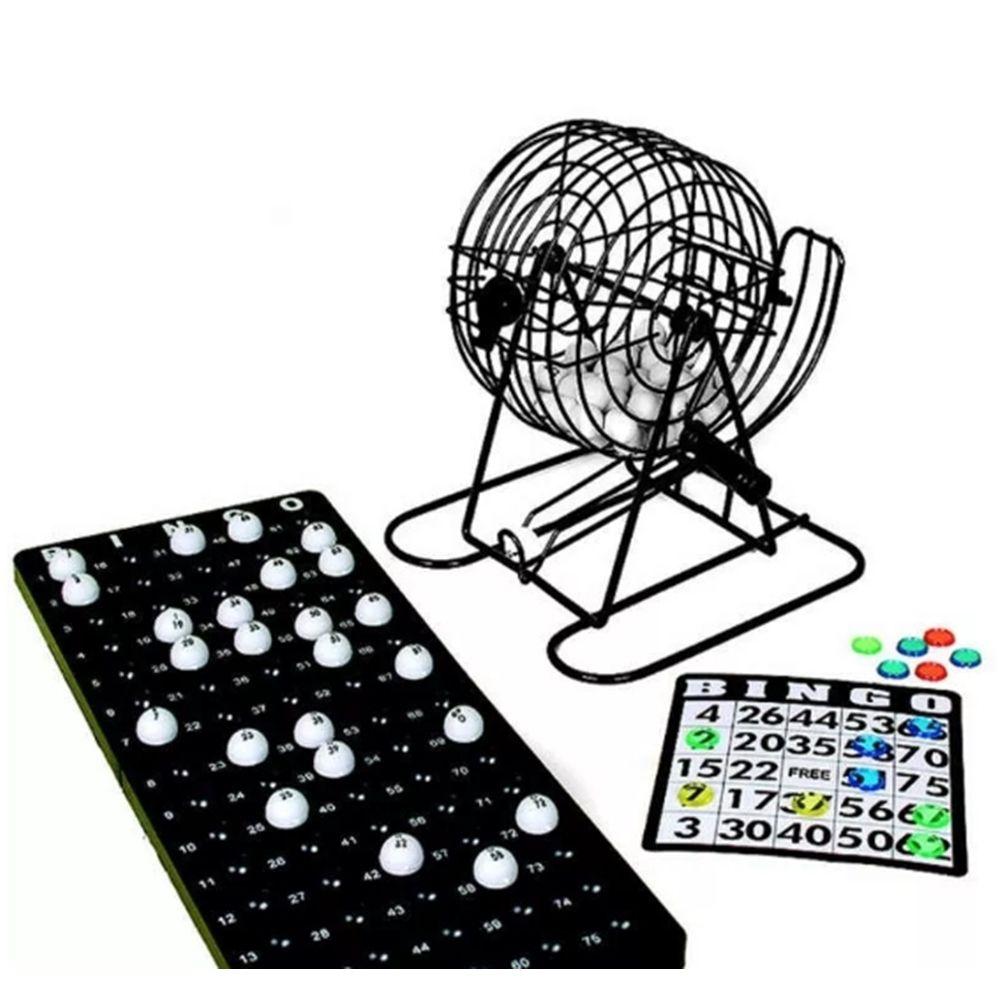 Jogo De Bingo Com 75 Bolas Cartelas Marcadores Globo Giratorio 22x22cm Casita IM52002LY-1