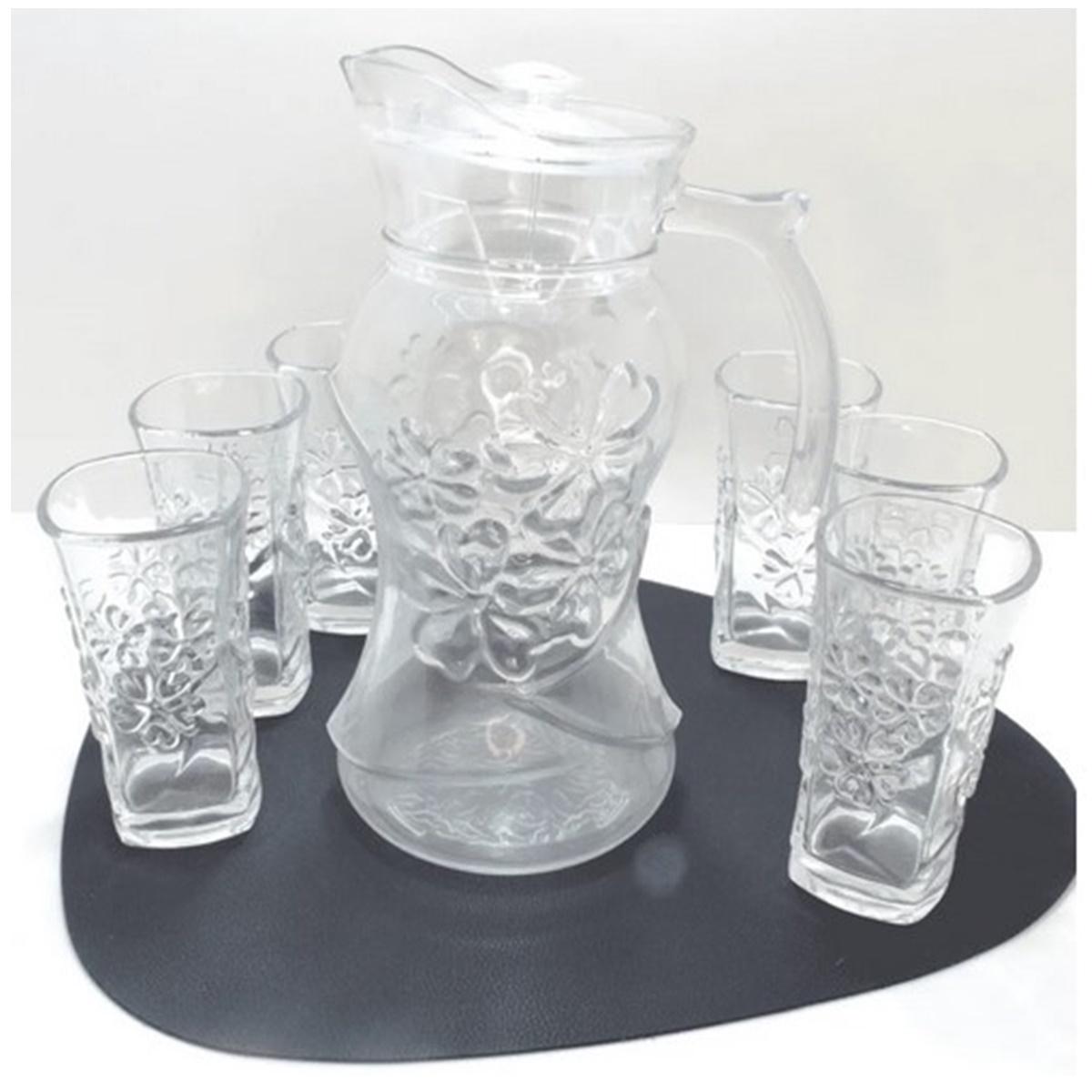 Jarra de Vidro com Tampa + 6 copos de 250ml Wellmix - WX6733