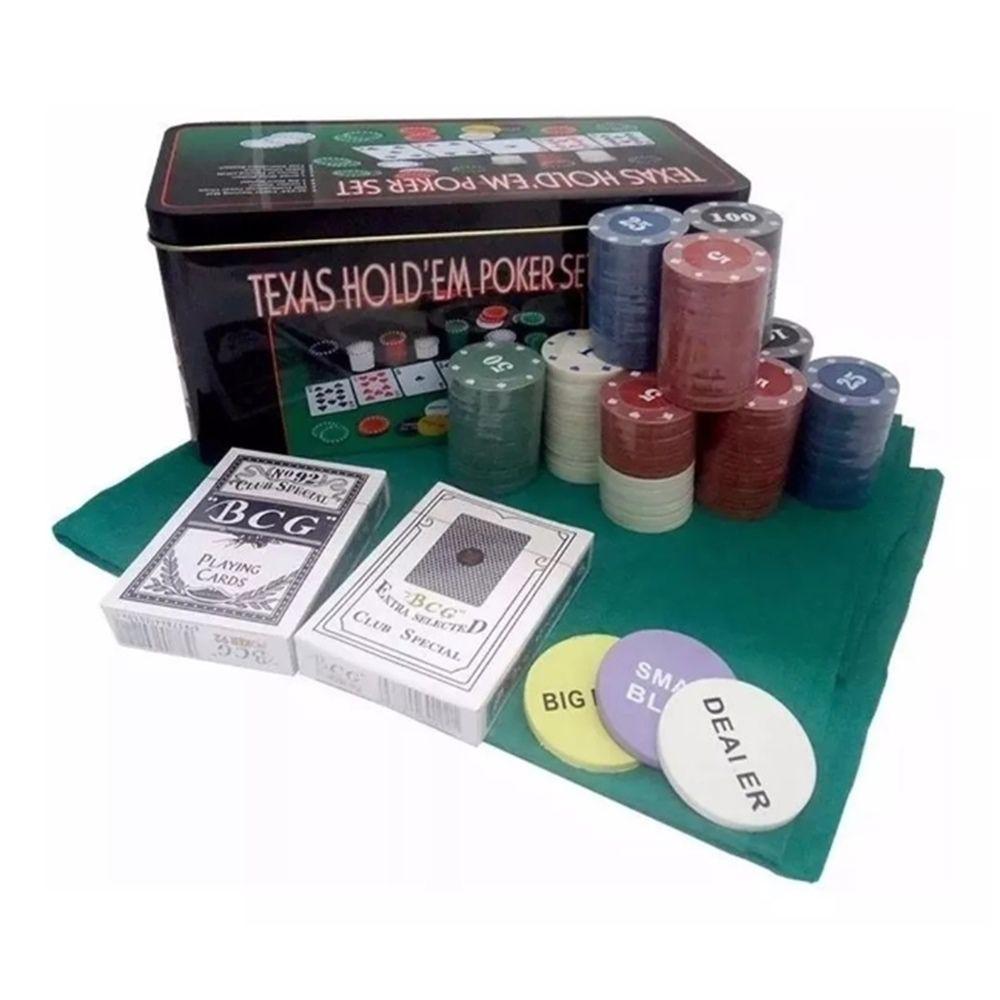 Jogo de poker 200 fichas de poker + 02 cartas de baralhos + 01 toalha de mesa 87x58cm Casita IM200LY-1