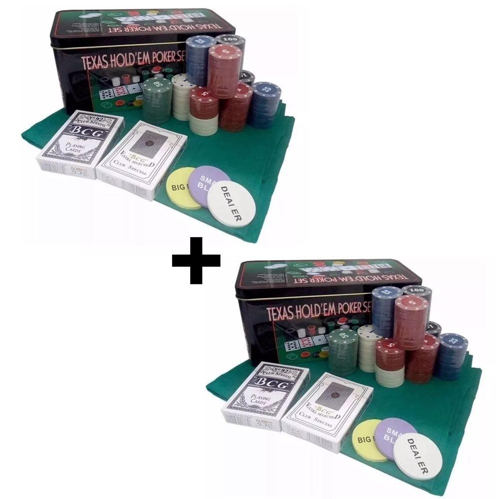 Jogo de poker 400 fichas de poker + 04 cartas de baralhos + 02 toalha de mesa 87x58cm em 2 latas Casita IM200LY-1