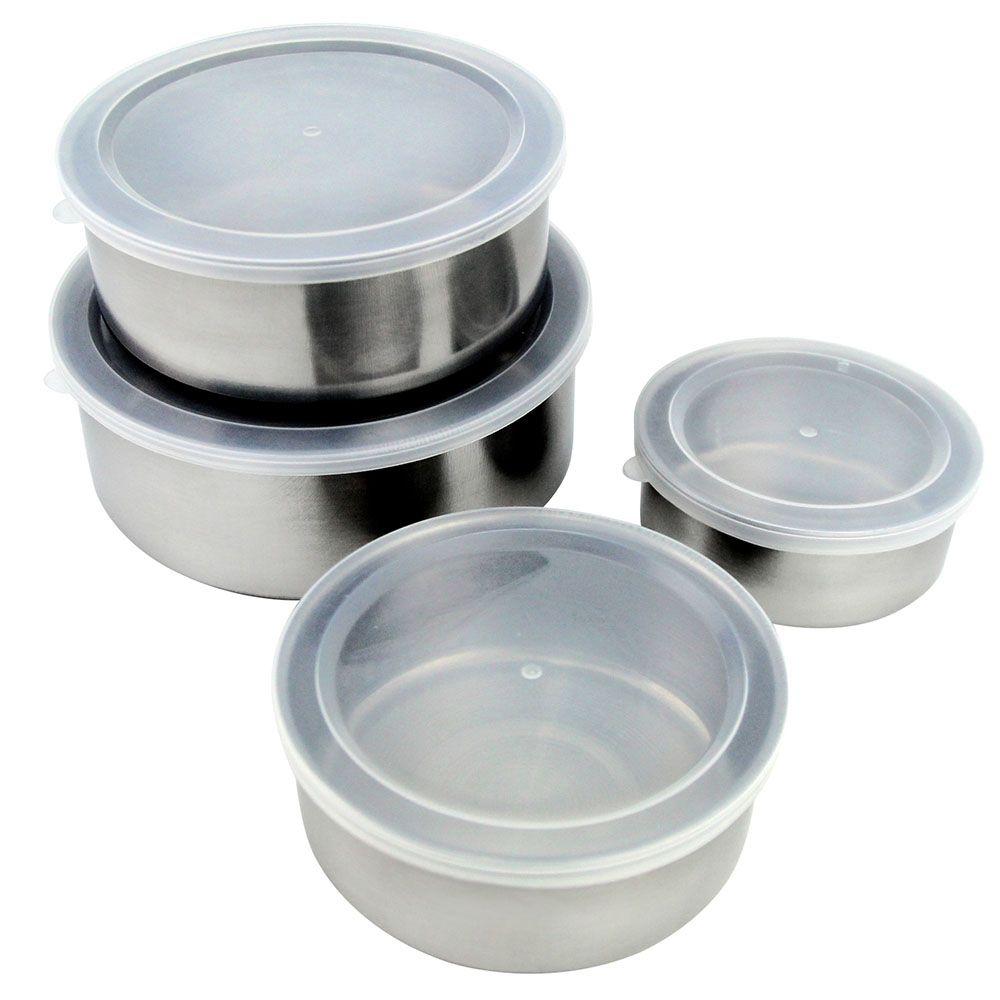 Jogo de Potes em aço Inox com tampa plastica 4 peças Clink CK1252-1
