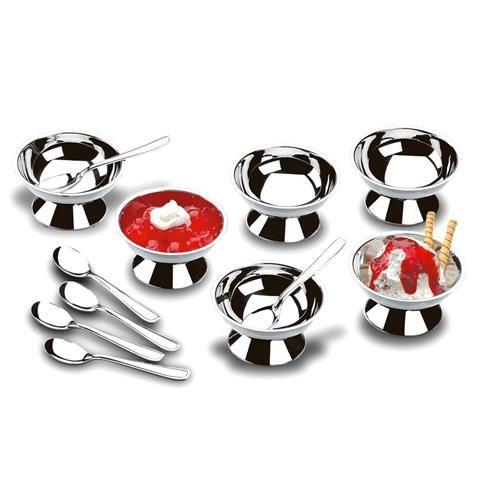 Jogo De Taças E Colheres Para Sobremesa Em Aço Inox 12 Pçs WX4428