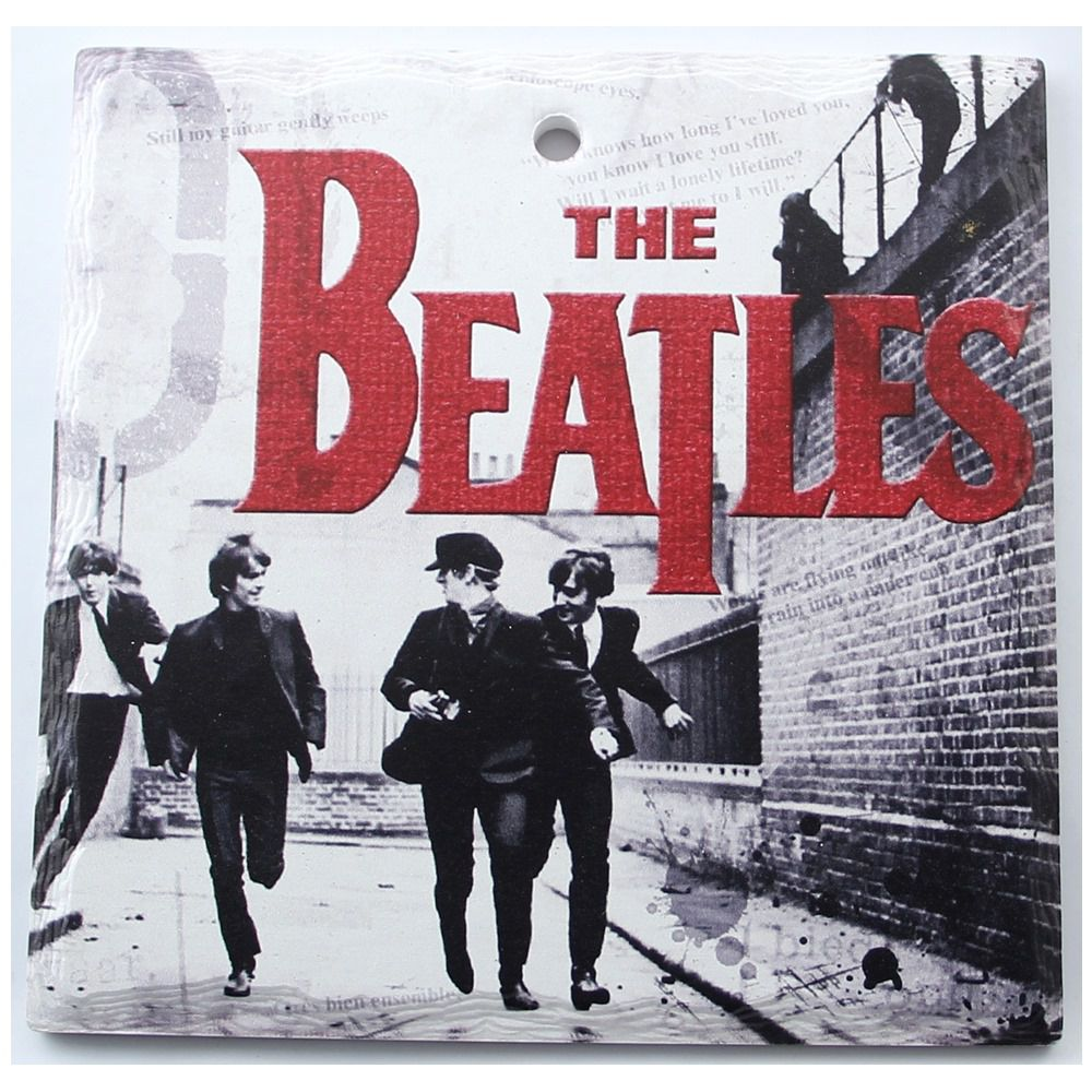 Kit 4 Quadros Compactos Decorativos De Cerâmica estampa dos Beatles