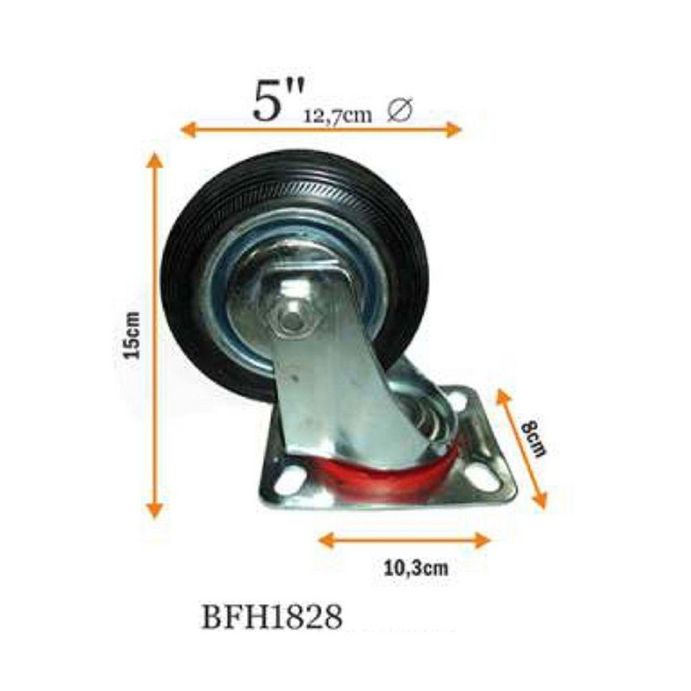 Kit 4 Rodizios Industrial Giratorio Preto 5 Polegada 120kg Bestfer Bfh1828-4