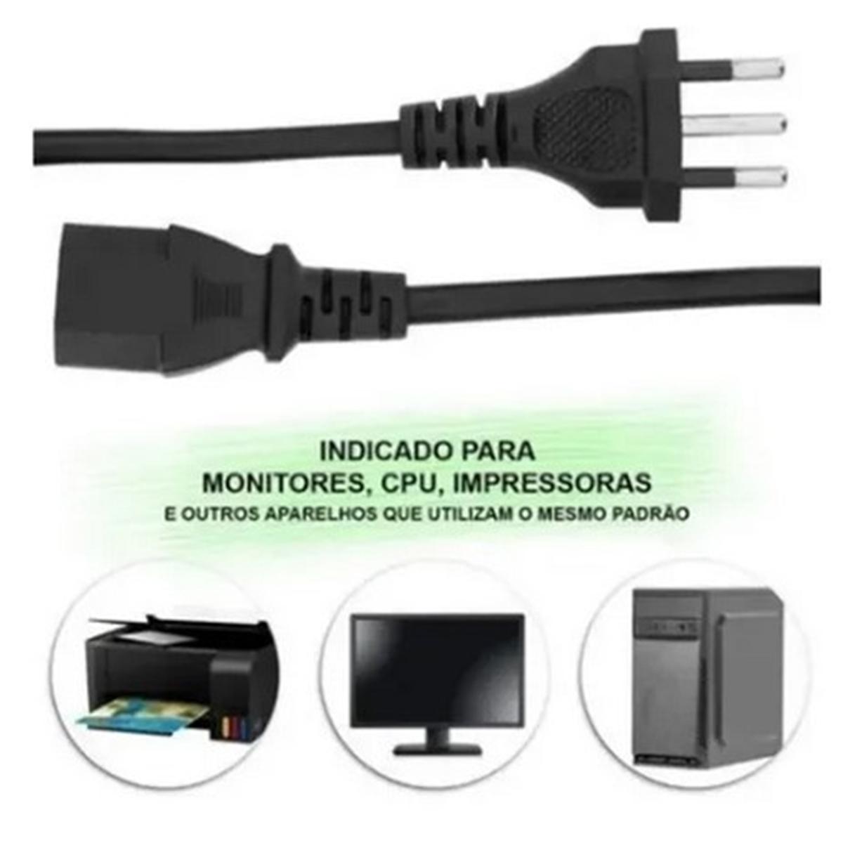 Kit 5 Cabo de Força Energia Tripolar 1,5M 10A / 250V PC Monitor Impressora CPU Goal - GL0296-5