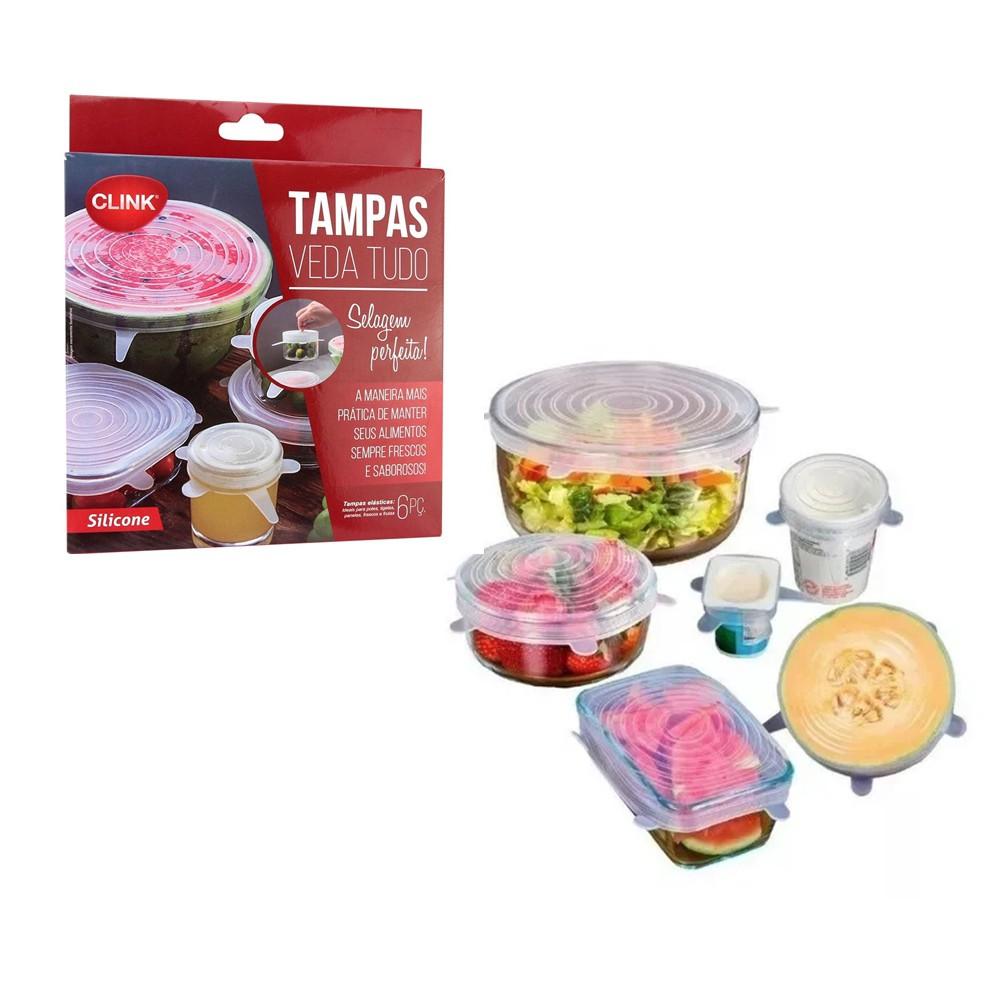 Kit 6 Tampas Veda Tudo De Silicone Reutilizável Clink CK2739