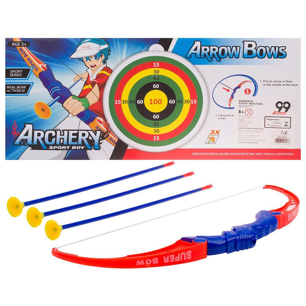 Kit Arco 3 Flechas + Alvo 6 Pecas 55cm  Arrow Bows TOYS-190169