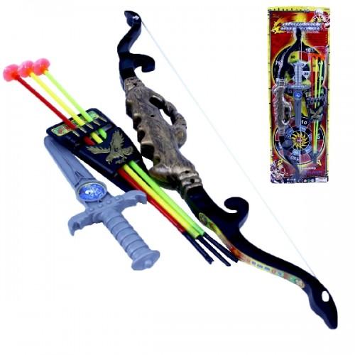 Kit Arco Flecha + Punhal 6 Pecas 55cm Hot Hero Bowma 9088