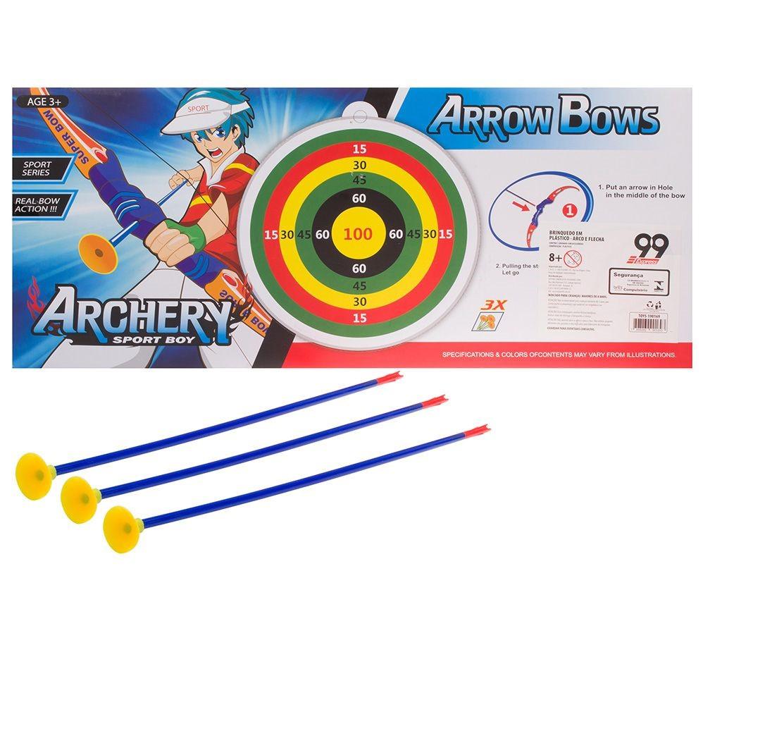 Kit Arco Rosa 3 Flechas + Alvo 6 Pecas 55cm  Arrow Bows TOYS-190169