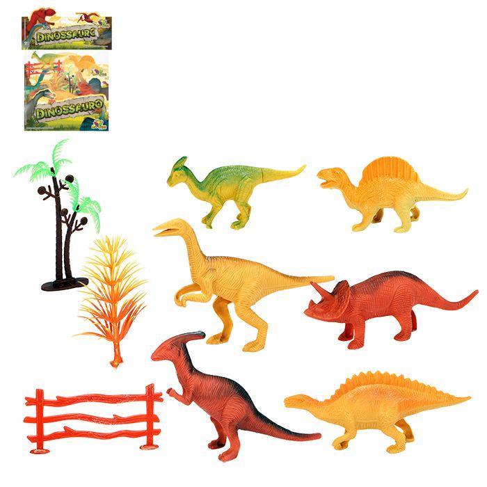Kit Dinossauros Miniatura Pequeno de Plastico Com acessórios 9 Peças