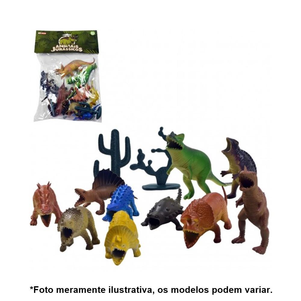 Kit Dinossauros Miniatura Pequeno de Plástico 12 Peças AKT3064