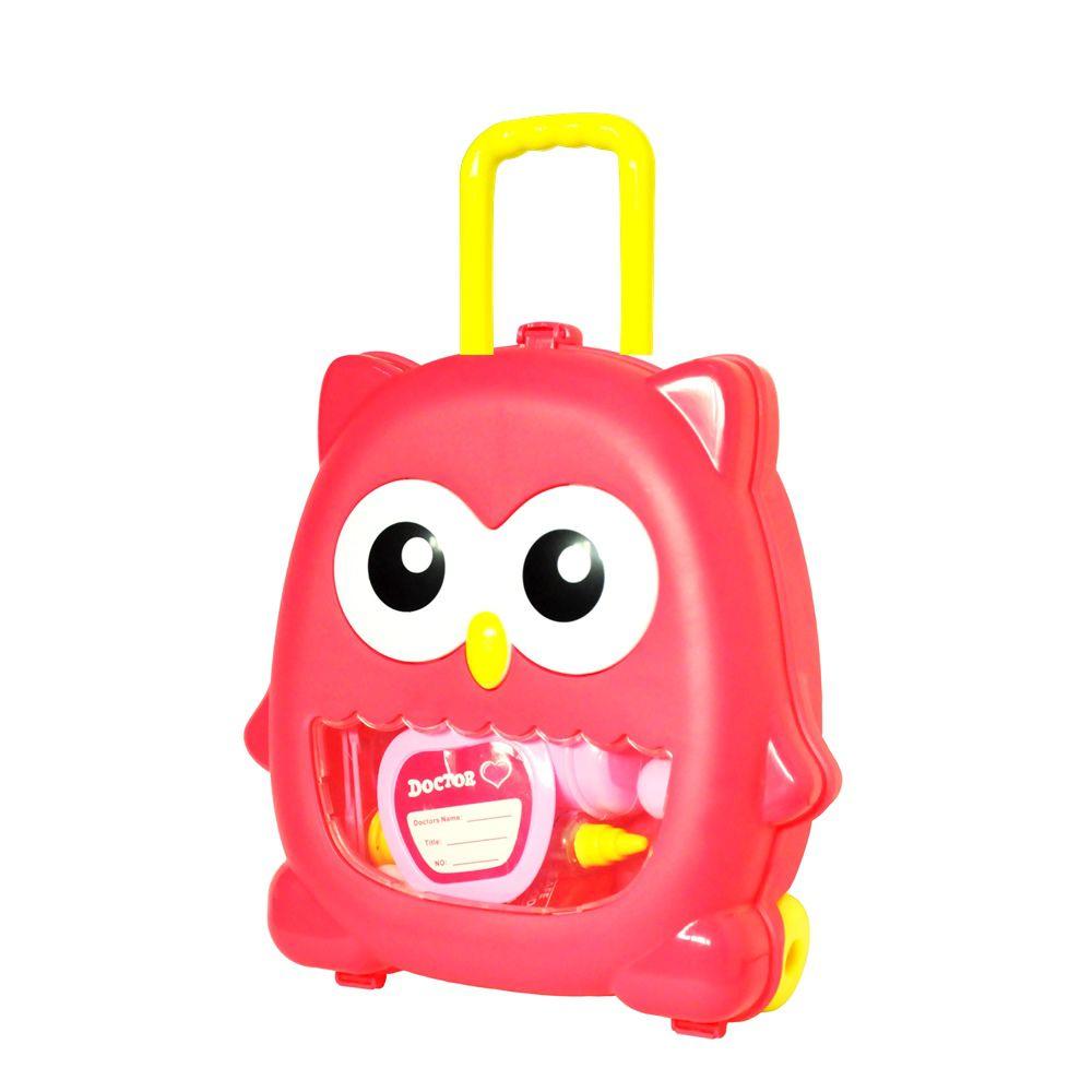 Kit Doutor Corujinha Infantil Mini Maleta com rodinha e Acessórios DM Toys