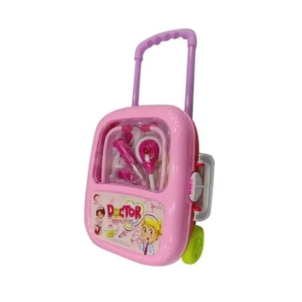 Kit Infantil Medica Criança Profissão Maleta com rodinha e Acessórios TOYS-190154-rosa