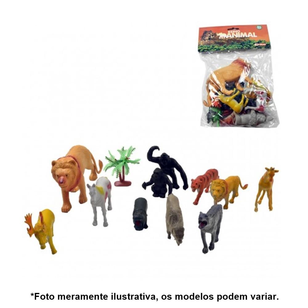 Kit Miniatura de Animais fazendinha Pequeno de Plástico 12 Peças AKT3065