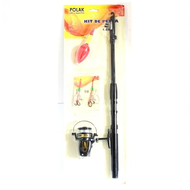 Kit Pesca Vara de 1,6m telescópica Com Molinete Boia E Linha 0710