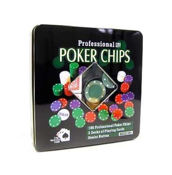Kit Poker 100 Fichas 2 Baralhos Botão dealer na lata 0833