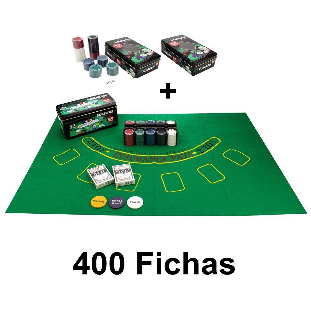 Kit Poker 400 Fichas Sem numero 2 Baralhos Botão dealer na lata e feltro 1+2