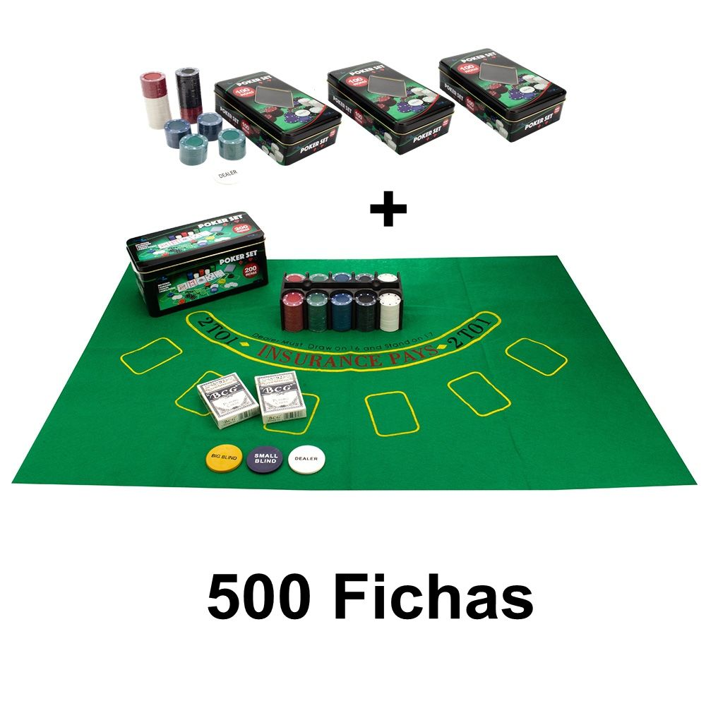 Kit Poker 500 Fichas Sem numero 2 Baralhos Botão dealer na lata e feltro 1+3