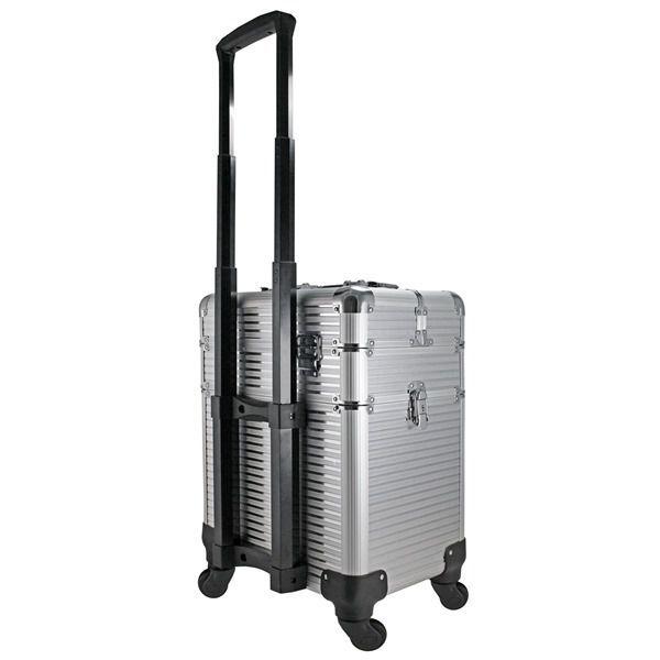 Maleta Profissional 2 Andares com Rodinhas de 360º Prata Aluminio Jacki Design BJH18659