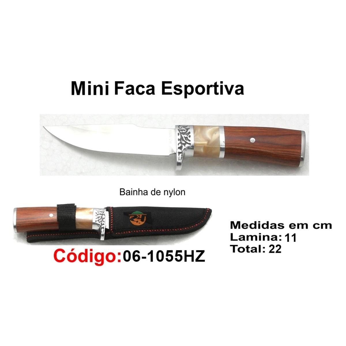 Mini Faca Esportiva Com Bainha Modelo Caça Pesca Etc 06-1055HZ