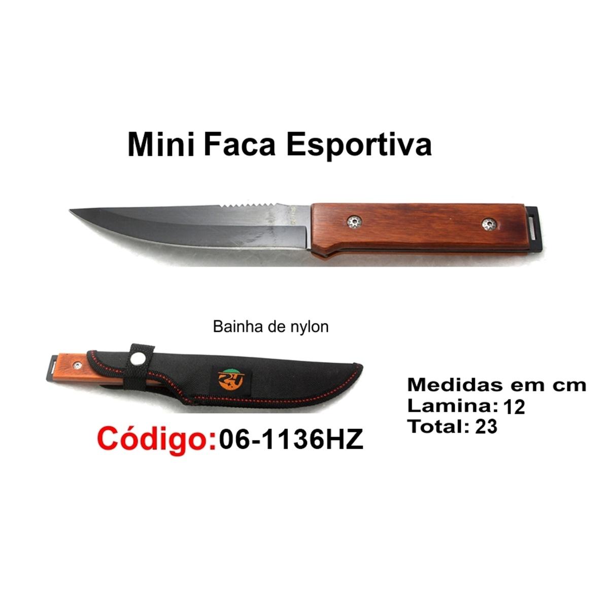 Mini Faca Esportiva Com Bainha Modelo Caça Pesca Etc 06-1136HZ