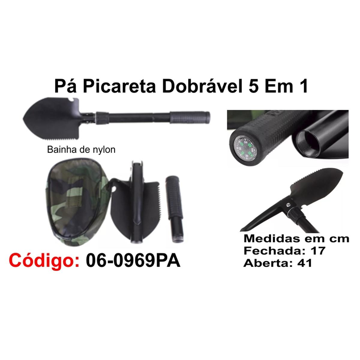 Pá Picareta Dobrável 5 em 1 06-0969PA