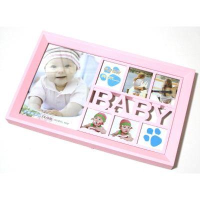 Painel Porta Retrato De Parede 2 Fotos Baby 3 Cores - 7208
