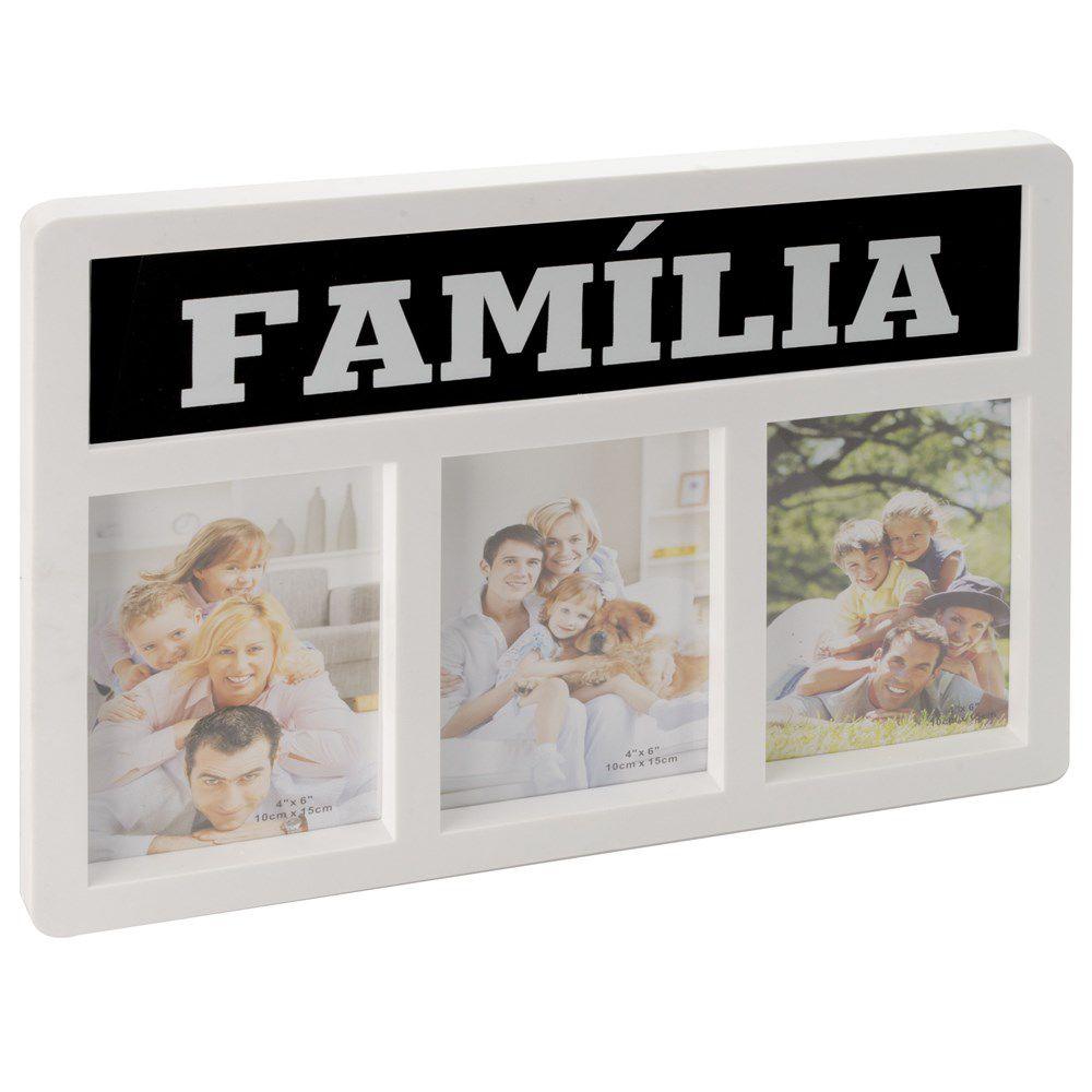 Painel Porta Retrato De Parede 3 Fotos 10x15 Tema Família DS-17127-F