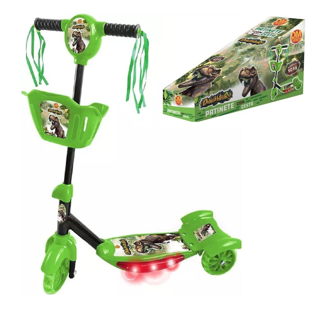Patinete Com Cesta Dinossauro acende luz emite som musical Inifantil DM Toys DMR5620