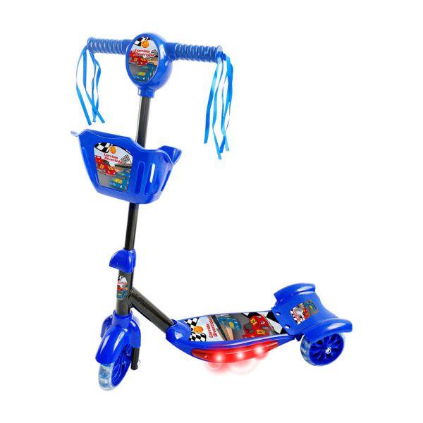 Patinete Com Cesta Azul acende luz emite som musical Inifantil DM Toys DMR5026
