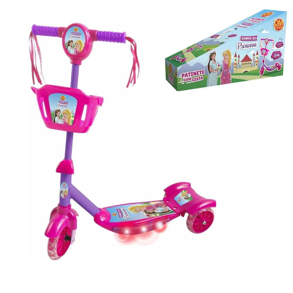 Patinete Com Cesta Princesa acende luz emite som musical InifantilDM Toys DMR5621