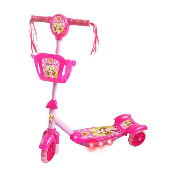 Patinete Com Cesta Rosa acende luz emite som musical Inifantil DM Toys DMR5027