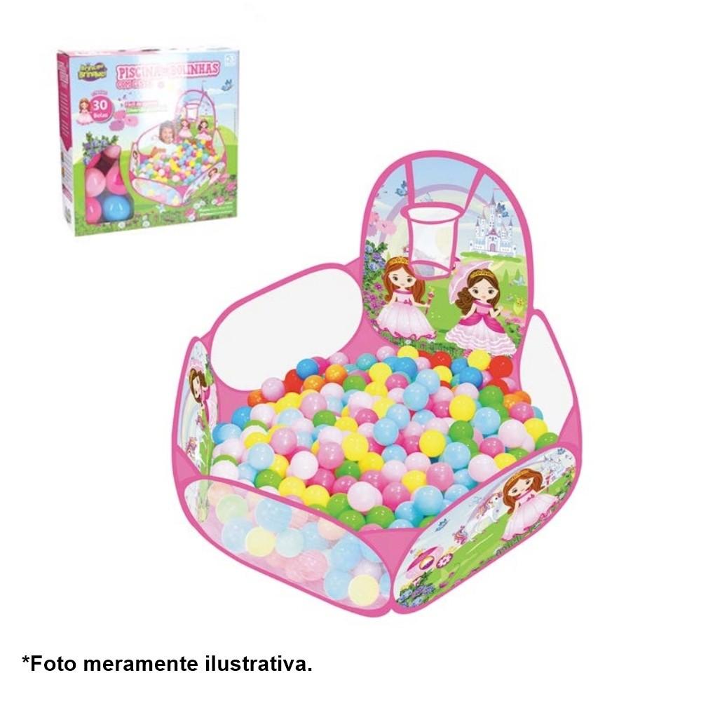 Piscina de Bolinhas Princesas Infantil com cesta de basquete e 30 Bolinhas IN13443