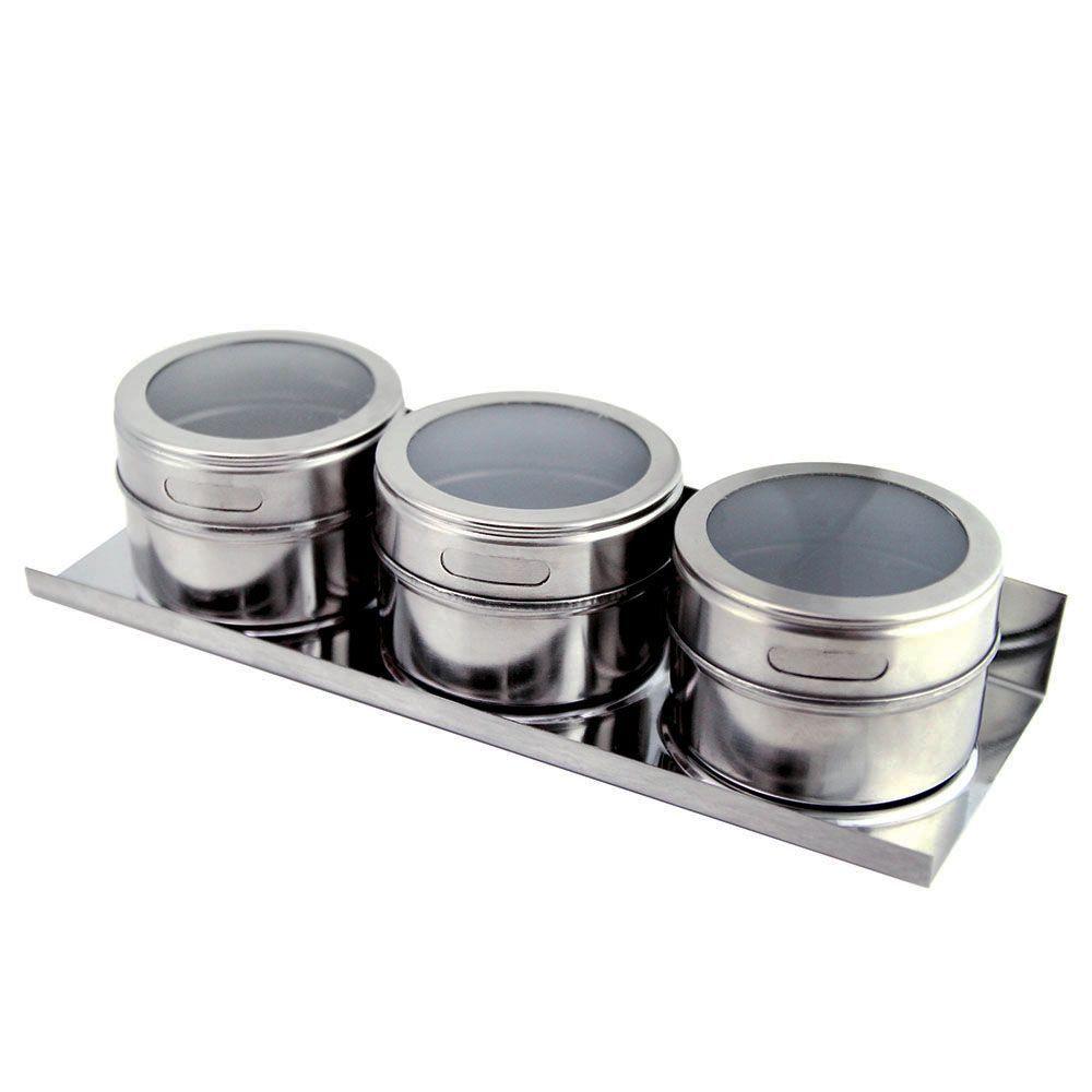 Porta Temperos Magnético Aço Inox Com 3 Peças + Suporte Clink CK1257