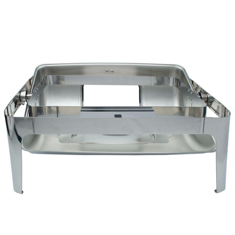 Rechaud Inox 9 Litros Luxo Tampa Giratória com visor e pés arredondado Panelas Banho Maria 2 Cubas Buffet 1/2 RA2302-02