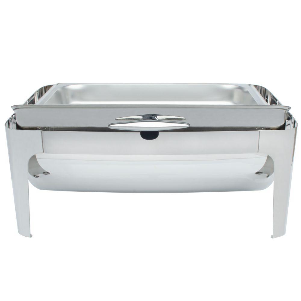 Rechaud Inox 9 Litros Luxo Tampa Giratória pés arredondado Panelas Banho Maria 3 Cubas Buffet 1/3 RA2301B-03