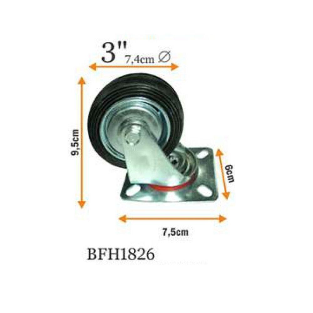 Rodizio Industrial Giratorio Preto 3 Polegada 80kg Bestfer Bfh1826