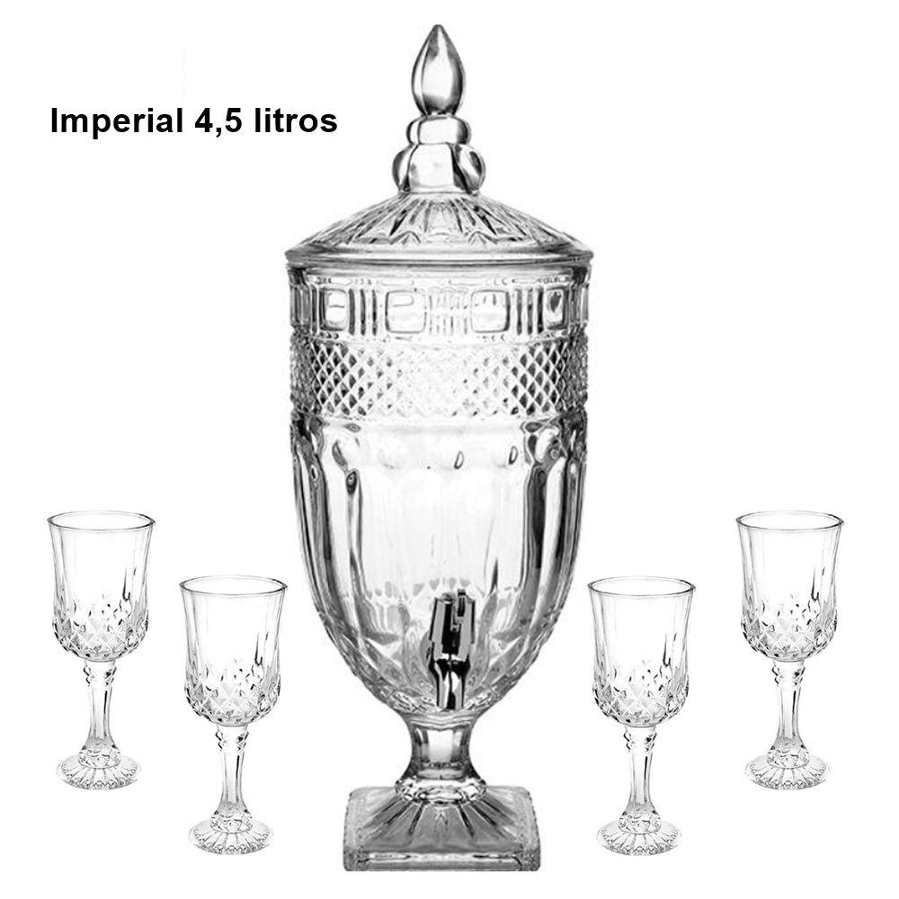 Suqueira Dispenser Cristal 4,5L + 4 Taças Garbo Glassware