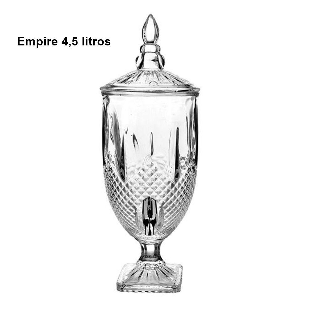 Suqueira Dispenser Cristal Água Bebida 4,5L Garbo Glassware