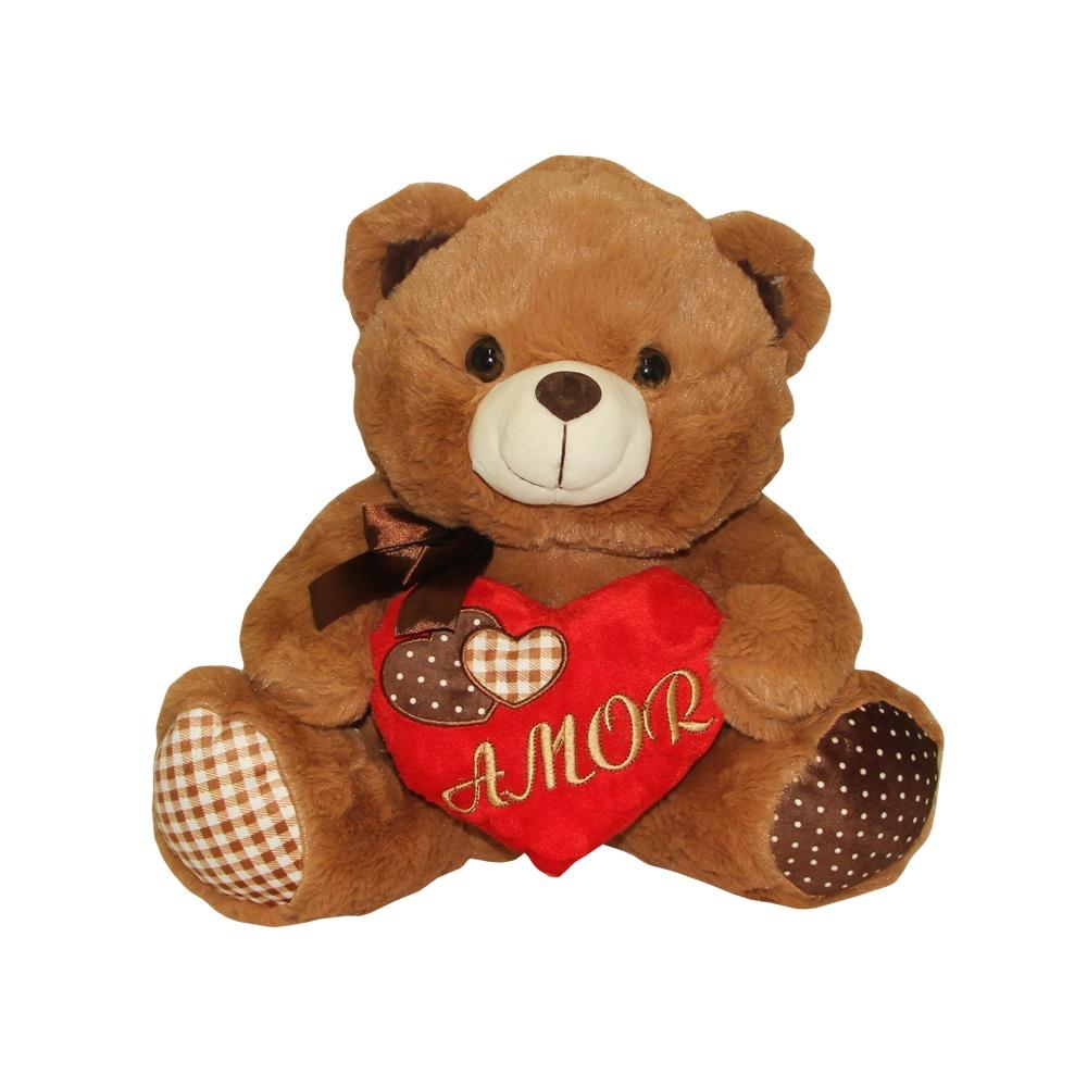 Urso De Pelúcia com coração amor  Sentado varias cores Fizzy FC2745