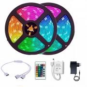 Fita LED RGB 3528 Rolo 10M com Fonte 12V 2A e Controle Remoto