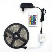 Fita LED RGB 3528 Rolo 5M com Fonte 12V 2A e Controle Remoto