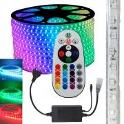 Fita LED RGB 5050 25m Premium Grossa Resistente e Fonte 220v