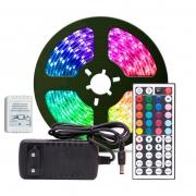 Fita LED RGB 5050 Rolo 5 metros Fonte 12V 3A e Controle Remoto