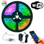 Fita RGB 3528 5m Wi-fi Alexa Google Assistent com Controle Remoto e Fonte