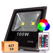 Kit 10 Refletor Led 100W RGB Uso Externo