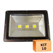 Kit 10 Refletor Led 150W Branco Frio Uso Externo