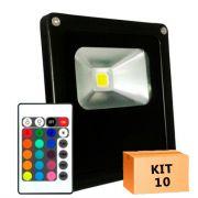 Kit 10 Refletor Led 50W RGB Uso Externo