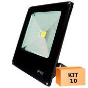 Kit 10 Refletor Led Slim 20W Branco Frio Uso Externo